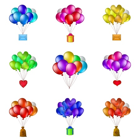 Set of balloons, colorful bunches flying with various objects  holiday mail, gift box, valentine heart, bag of money  Vector Stock Vector - 16252544