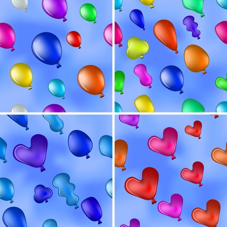 Set of seamless backgrounds with balloons of various colors flying in the blue sky  Vector Stock Vector - 16252547