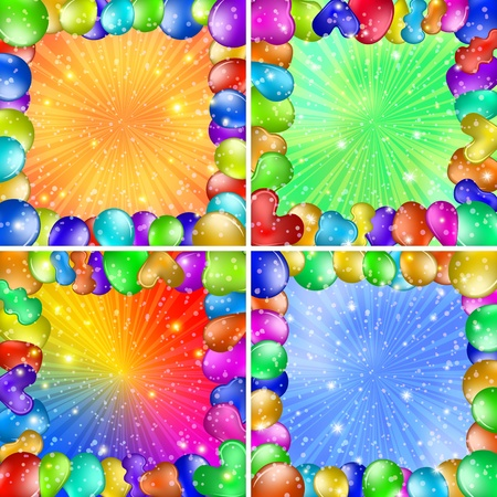 Set of backgrounds with colorful frames of balloons, holiday design Stock Vector - 16252567
