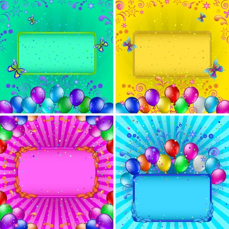 Set of holiday backgrounds with various colorful balloons, tables, confetti and abstract patterns  Vector Vector