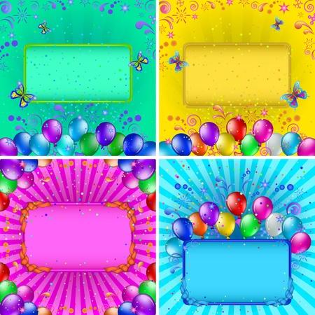 Conjunto de fondos de vacaciones con varios globos de colores, tablas, confeti y patrones vector abstracto