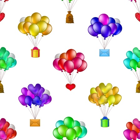 Seamless background of balloons, colorful bunches flying with various objects  holiday mail, gift box, valentine heart, bag of money   Vector