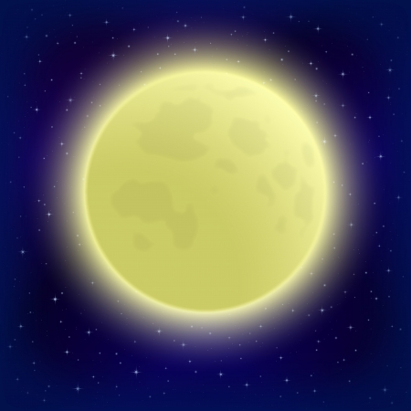Space background, big bright moon in close-up and night starry sky  , contains transparencies