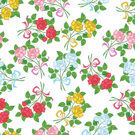 Seamless floral background, flowers rose isolated on the white  Vector