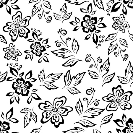 Seamless floral background, symbolical flowers and leaves, black contours on white
