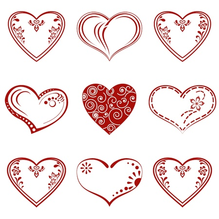 Valentine red hearts set, symbol of love, pictograms with abstract patterns  Vector Stock Vector - 16609290