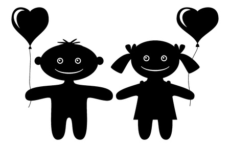 Cartoon little boy and girl with valentine hearts balloons, black silhouette isolated on white background. Vector