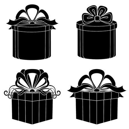 Set of gift boxes square and round forms with bows, black silhouettes isolated on white