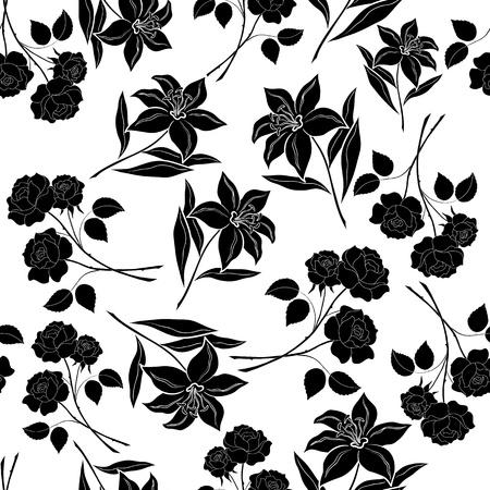 lirio blanco: Fondo floral sin fisuras, flores de rosa y lirio, siluetas negras sobre fondo blanco