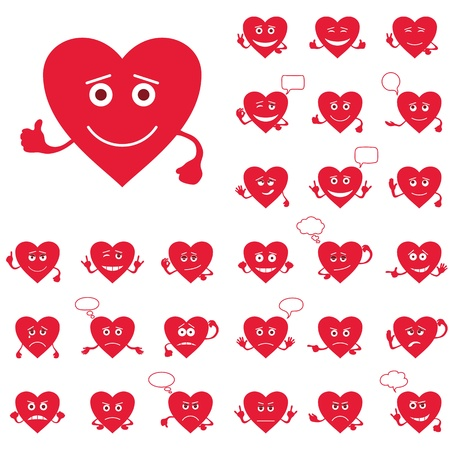 sad eyes: Set of Valentine hearts smilies, love signs, symbolizing various emotions Illustration