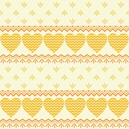Valentine holiday seamless background with symbolical hearts and abstract patterns, yellow and orange Stock Vector - 16714710