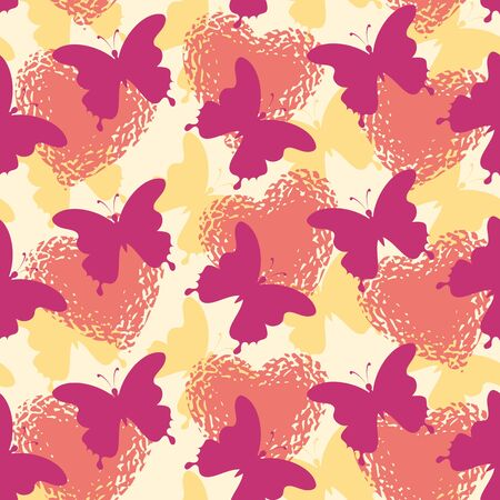 Seamless holiday background, butterflies silhouettes and Valentine hearts Stock Vector - 16714708