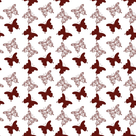 Seamless background, butterflies silhouettes and contours on white Stock Vector - 16714711