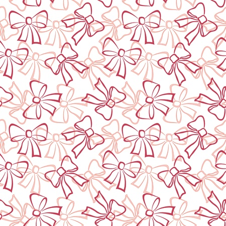 Abstract holiday seamless pattern with red and pink outline bows on white background  Vector Vector