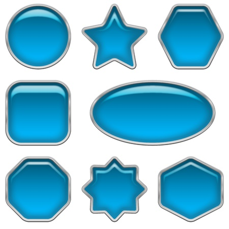 Set of glass blue buttons, computer icons of different forms for web design, isolated on white background  Vector eps10, contains transparencies