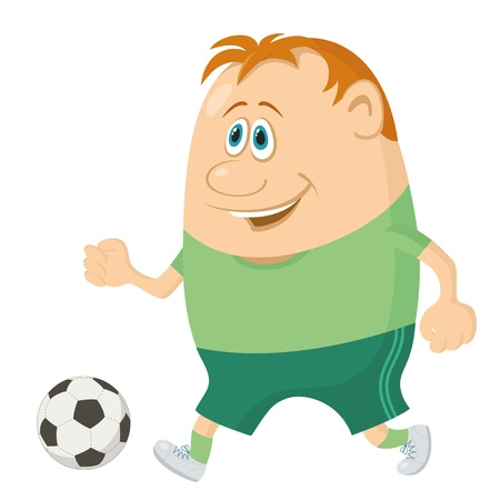 Soccer sportsman running with ball, cartoon character, isolated on white background   Vector