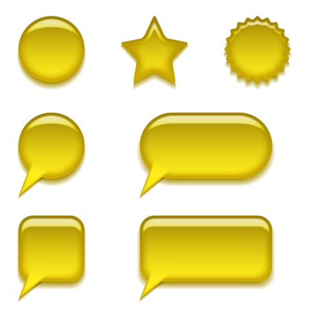 Set of glass yellow buttons, computer icons of different forms for web design, isolated on white background, contains transparencies Vector