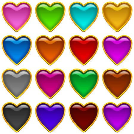 Set of icons hearts, glass buttons of different colors for web design  Vector eps10, contains transparencies Vector