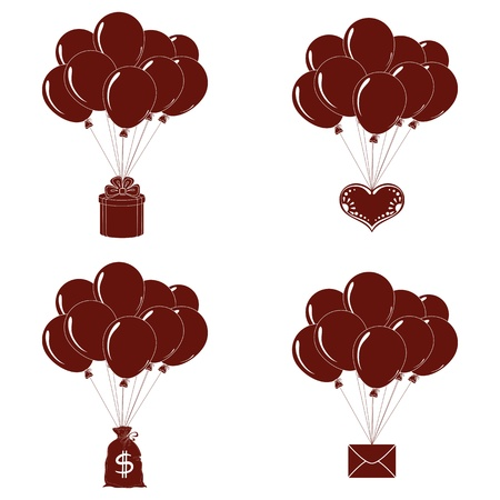 Set of balloons, bunches flying with various objects  holiday mail, gift box, valentine heart and bag of money, pictogram  Vector Vector