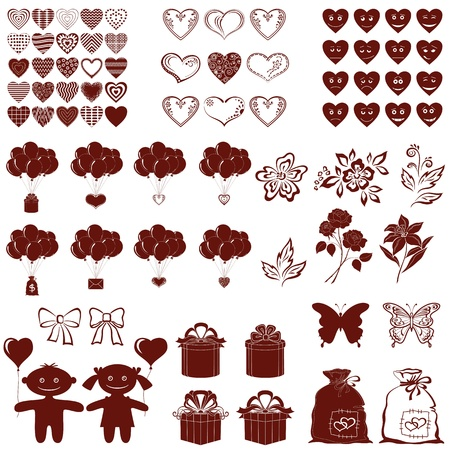 girls with bows: Set of various valentine cartoon elements for holiday design, brown silhouettes isolated on white background  Vector