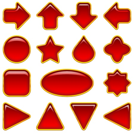 Set of glass red buttons, computer icons of different forms for web design, isolated on white background  Vector eps10, contains transparencies Vector