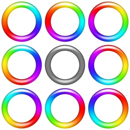 revolving: Billet for flash animation  Revolving rainbow ring, eight positions and gray version  Web design element  Vector eps10, contains transparencies Illustration