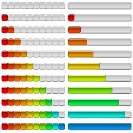 Set of glass colorful loading progress bars at different stages, elements for web design  Vector eps10, contains transparencies