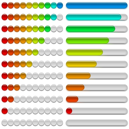 Set of glass colorful loading progress bars at different stages, elements for web design   Vector