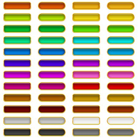Set of glass buttons, rectangles and ovals, computer icons of different colors for web design Stock Vector - 17274312
