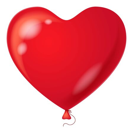Colorful red balloon in the form of heart, element for holiday background, isolated  Vector eps10, contains transparencies Vector