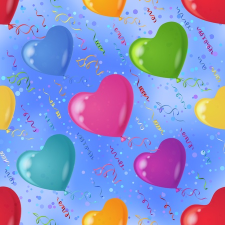 Heart shaped balloons flying in blue sky, seamless colorful pattern background , contains transparencies Illustration