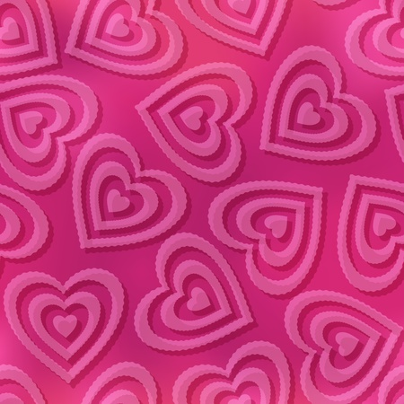 cardia: Valentine holiday seamless pattern with pictogram hearts on pink background  , contains transparencies   Illustration