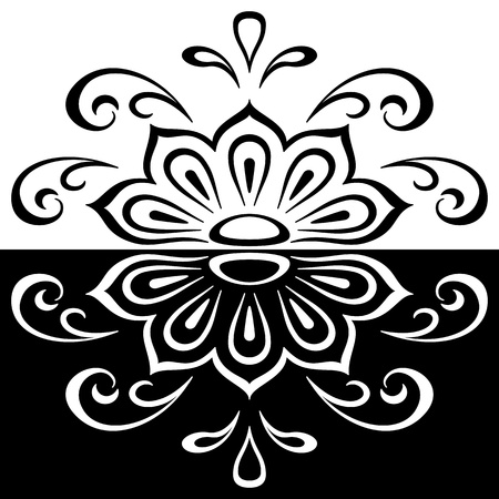 Abstract contour silhouette pattern, symbolical black and white floral ornament   Vector
