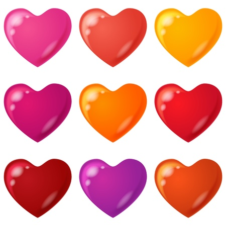 Valentine hearts, holiday set of beautiful love symbol icons Stock Vector - 17696461