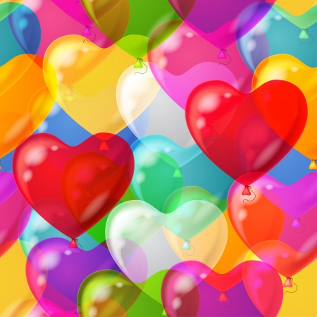 Heart shaped balloons seamless pattern background, beautiful colorful illustration  Illustration