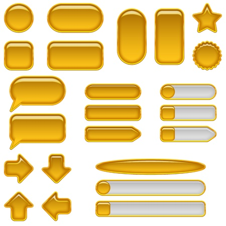 Set of glass gold buttons and sliders, computer icons of different forms for web designs