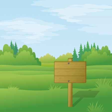 Wood sign for text on background of landscape with green summer forest and blue sky   Illustration
