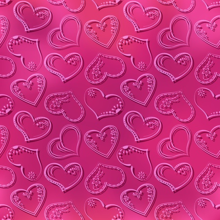 cordial: Valentine holiday seamless pattern with pictogram hearts on pink background