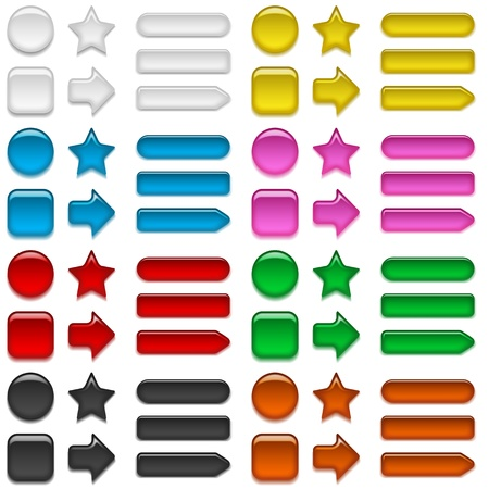 Set of glass buttons, computer icons of different colors and shapes for web design contains transparencies Vector