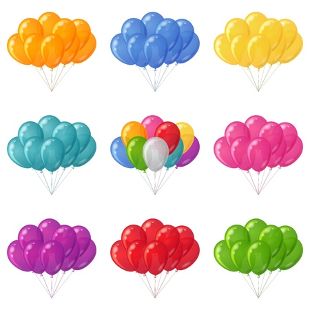Set of colorful flying balloons bunches of various colors  Stock Vector - 18003116