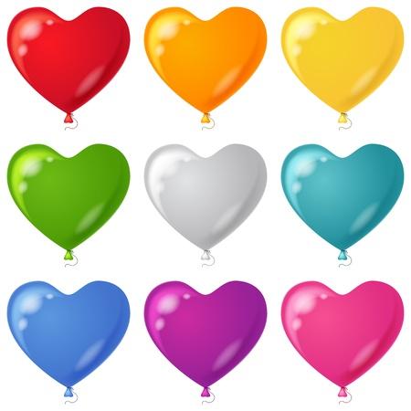 inflar: Conjunto de globos en forma de corazones hermosos colores diferentes, aislado, eps10, vector contiene transparencias