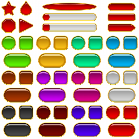 Set of glass buttons, computer icons of different colors and shapes for web design  Vector eps10, contains transparencies
