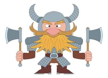 Dwarf, redhead warrior in armor and helmet standing with battle ax, funny comic cartoon character   Vector