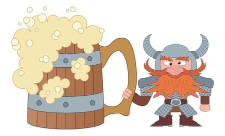 drunkard: Drunken dwarf warrior in armor and helmet standing near the giant beer mug, funny comic cartoon character  Vector