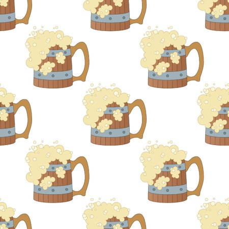 Seamless background with cartoon wooden beer mugs with foam    Vector