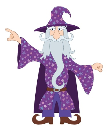 warlock: Wizard, cartoon character, in violet starred costume standing and pointing his finger at something  Vector Illustration