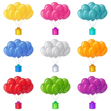 Set of colorful balloons bunches flying with gift boxes  Eps10, contains transparencies  Vector Stock Vector - 18442194