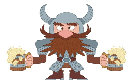 Drunken dwarf warrior in armor and helmet standing with two large beer mugs, funny comic cartoon character  Vector Vector
