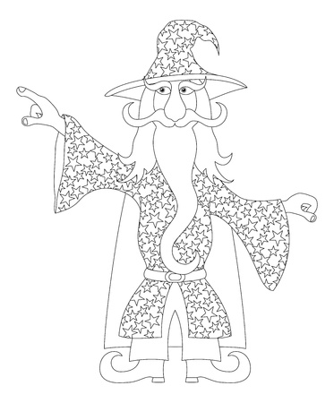 warlock: Wizard, cartoon character, in starred costume standing and pointing his finger at something, contour  Vector