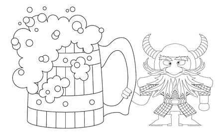 drunkard: Drunken dwarf warrior in armor and helmet standing near the  beer mug, funny comic cartoon character, black contour on white background   Illustration